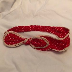 Red with white polka dots elastic headband